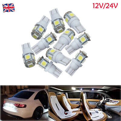 12V/24V T10 501 W5W 5050 5 LED PUSH WEDGE CAPLESS WHITE SIDE Door LIGHT BULBS