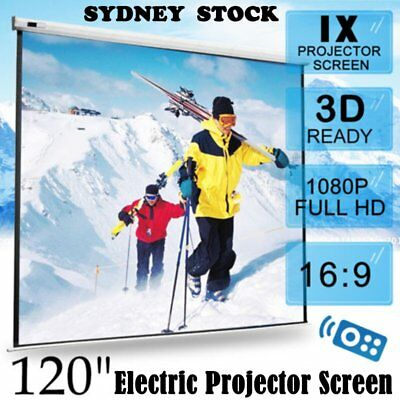 """120"""" Inch Electric Motorised Projector Screen Home Theatre HD TV Projection 3D N"""