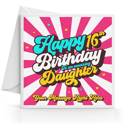 Personalised 16th Birthday Card Girl Daughter Granddaughter Sister Niece