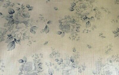 French Blue Faded Rose Reversible Floral Linen Fabric  - Double Width 280cm Wide