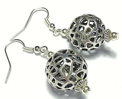 Silver Ball Earrings Tibetan Style, Hook, Clip-On, Butterfly Studs or 925 Silver