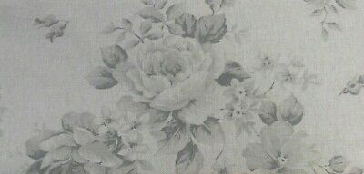 """French """"Faded Roses"""" Floral Linen Fabric in Grey - Double Width 280cm Wide"""