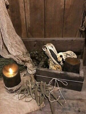 Primitive Old Wooden Box Candle Light Gathering Gourds Corn Homestead Cupboard