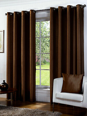 Faux Silk Chocolate Eyelet/Ringtop Lined Curtain Pairs - CLEARANCE PRICE