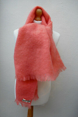 Vintage Marks & Spencer St Michael orange mohair and wool blend scarf shawl