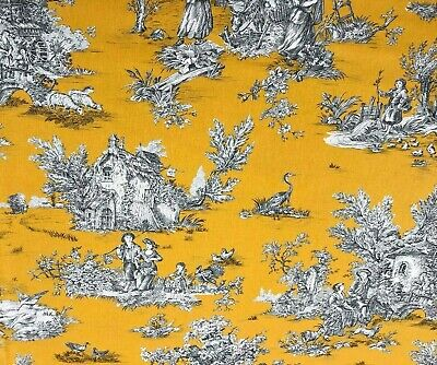 French Pastorale Toile De Jouy Linen Fabric in Yellow - Double Width 280cm Wide