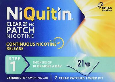 NiQuitin Clear 24 Hour 21mg 7 Patches Step1 - 1 Week Kit Nicotine Stop Smoking
