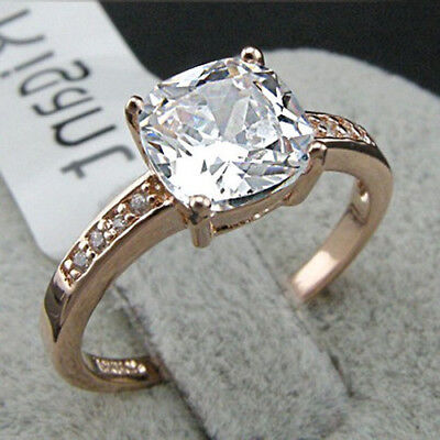 wedding 18K rose gold filled 4ct brightness clarity crystal wedding ring size7.5