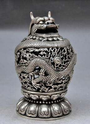 Chinese ancient hand-carved Tibet silver Dragon incense burner