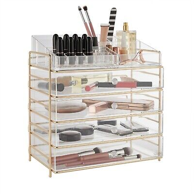 Beautify Large Acrylic Cosmetic Makeup Storage Cube Organizer with 4 Drawers