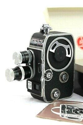 vintage BOLEX B8 camera with YVAR 13mm f1.9 and 36mm f2.8 lenses, box & manual