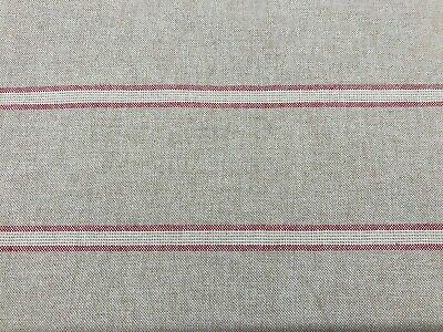 French Linen Double Stripe Fabric in Red | Double Width 280cm | Curtains Blinds