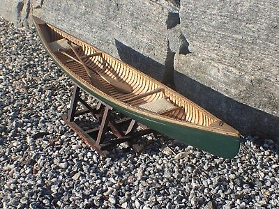 """Vintage Old Town Canoe Green 27"""" Wooden Handmade Row Boat Display Scale Model"""