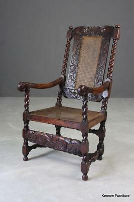 Antique Cane & Carved Oak Open Arm Chair Carver