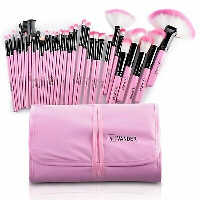 Set 32 Pennelli Make Up Trucco Professionali Morbide Rosa Cosmetica + Custodia