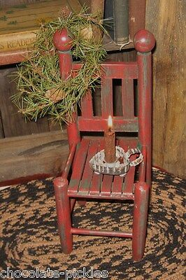 Farmhouse Red Wood Doll/Teddy Bear CHAIR/Candle Holder*Primitive Country Decor