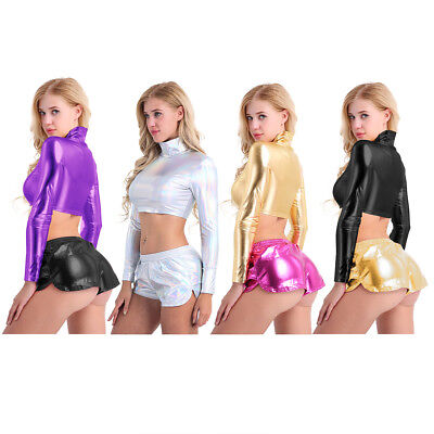 Women Metallic Bra Bustier Crop Tops Turtle Neck Vest Leotard T-Shirt Clubwear