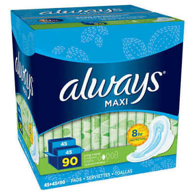 Always Maxi Long Super Pads With Wings, 90 Count New Opened Box
