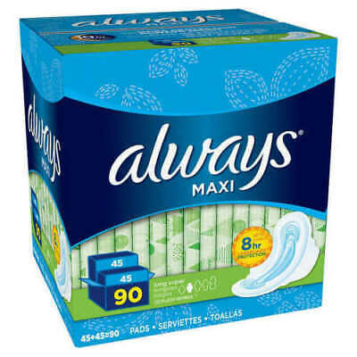 Always Maxi Long Super Pads With Wings, 90 Count New Opened Box Missing One