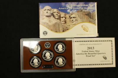 2013 S US MINT America the Beautiful Quarter PROOF SET 5 COINS WITH COA in OGP