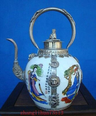 Collectible Chinese Handmade Silver & Porcelain Inlaid Teapot Deco Art