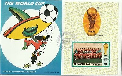 1986 Mexico World Cup St. Vincent& Grenadines FDC cover