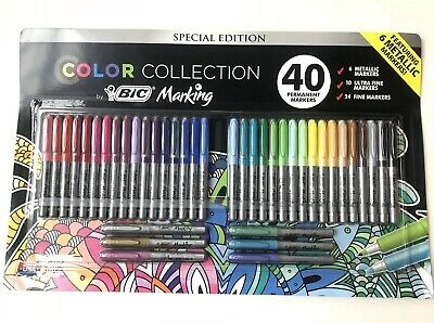 BIC Color Collection Sharpie, Assorted (40 ct Permanent Markers) New Sealed