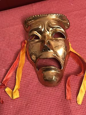 Vintage Brass Tragedy Mask Wall Hanging Theater Drama Metal