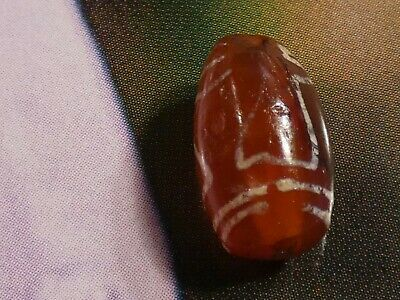 Ancient Etched Agate Carnelian Bead '' Nectar Cup '' Pyu Kushan 12.3 By 7.3 Mm