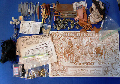 Vt lot Craftaid Leather Carving Cards/Book Stohlman '52 Tools Supplies Alphabet