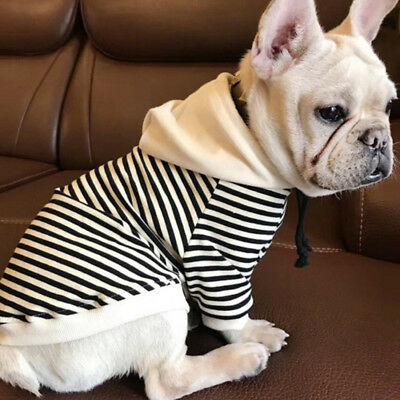 Pet Dog Cat French Bulldog Clothing T-Shirt Striped Puppy Hoodie Coat Clothes UK
