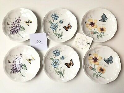Set of 6 Lenox Butterfly Meadow Party Plates, Butterfly Floral New In Box
