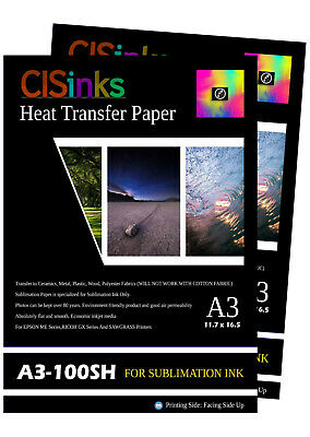 "200 sheet A3 11.7""x16.5""Inch 100gsm Thick Sublimation Inkjet Heat Transfer Paper"