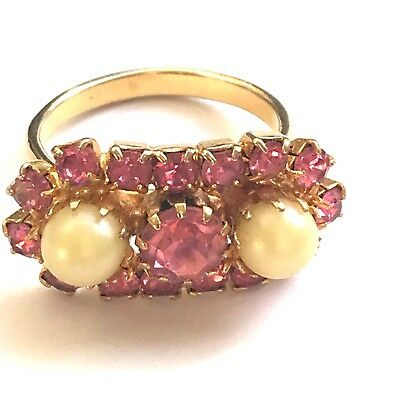 1950's PEARL & PINK CRYSTAL RHINESTONE GOLD PLATED VINTAGE RING