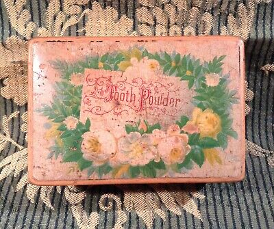 Antique MAUCHLINE WARE Floral Design Tooth Powder Box c1900