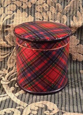 Antique MAUCHLINE WARE TARTAN Ribbon Box