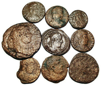 Lot of 9 Æ1-4 Ancient Roman Bronze Coins from I.-IV. Century
