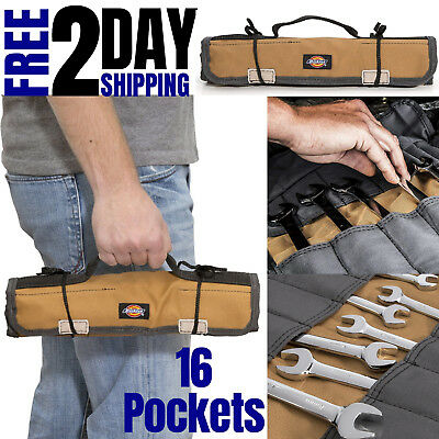 Roll Up Pouch for Wrench Small Secure Canvas Tool Organizer Kit Bag with Pockets