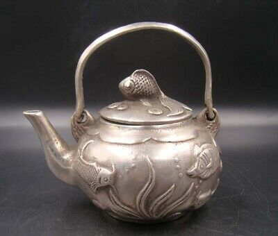 Collectible Handmade Carving Statue Copper silver Teapot  Flagon Fish Art Deco