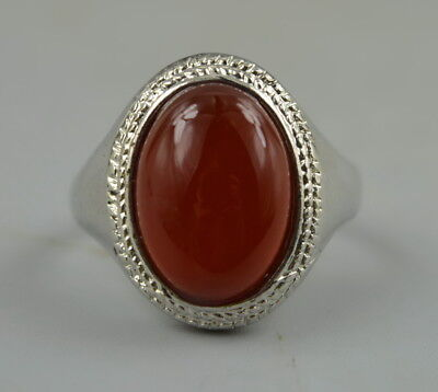 AAA Fine China Decorate Tibet Silver Inlay Red Jade Rare Delicate Ring Gift