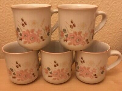 """Boots Hedge Rose FIVE (5)  3 1/8"""" Mugs - Excellent Condition"""
