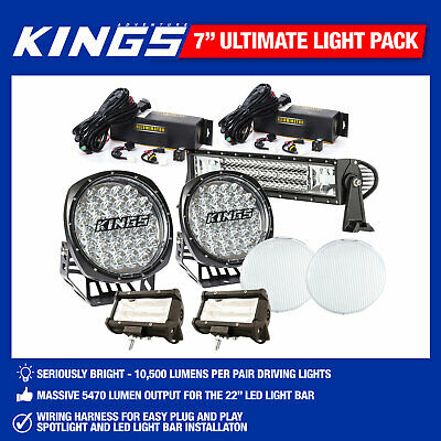 "7"" Driving Light Set Pair Work Spot Offroad ,22"" & 2x 5"" Light Bar Set LED Combo"