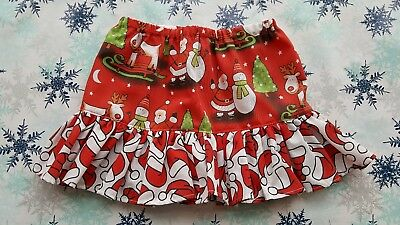 New Girls Christmas Frilly Skirt. Age 2-3. Santa Claus. Rudolph. Xmas Jumpers.
