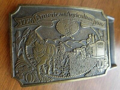 Vintage American Agriculture Bicentennial 1776-1976 Belt Buckle Ortho Chevron