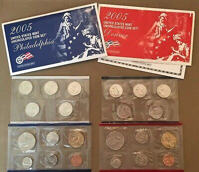 2005 22 Coins U.S. Uncirculated Mint Sets  w/ Envelope Face Value $5.92