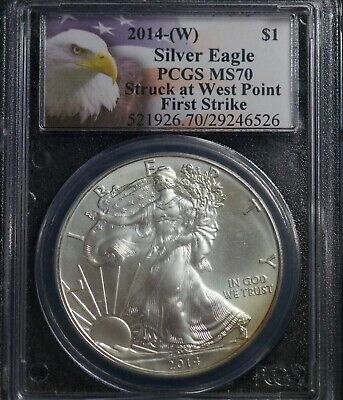2014 W PCGS MS 70 American Silver Eagle One Dollar Coin First Strike
