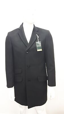 "Mens Greenwood Elite Black Wool Luxury Overcoat Coat Medium M 36"" #465"