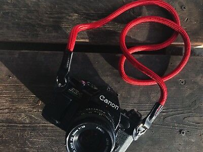 Nylon Climbing Rope Camera Neck Strap Leather Red Nikon Leica DSLR Mirrorless
