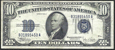 1934C $10 BLUE Seal SILVER Certificate! Old US Paper Money!