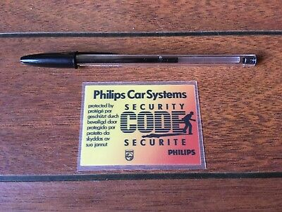 Autocollant Philips Car Systems radio code sécurité